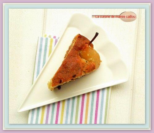 Gâteau aux poires, amandes et chocolat