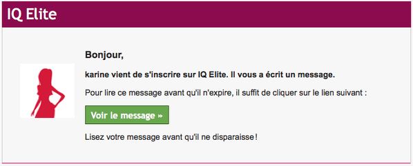 message de IQ Elite