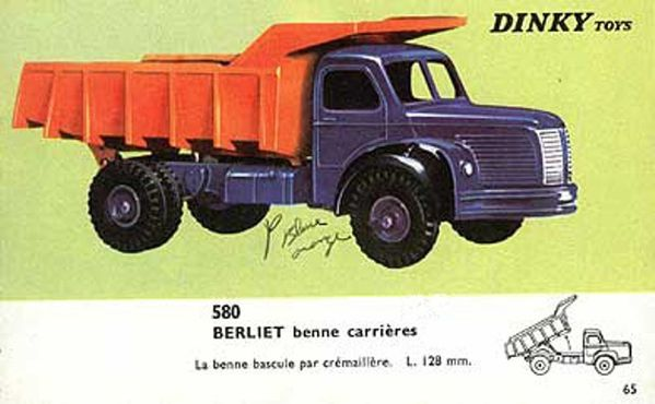 catalogue dinky toys 1966 p65 berliet benne carriere