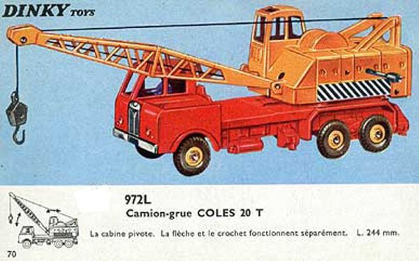 catalogue dinky toys 1966 p70 camion grue coles 20t