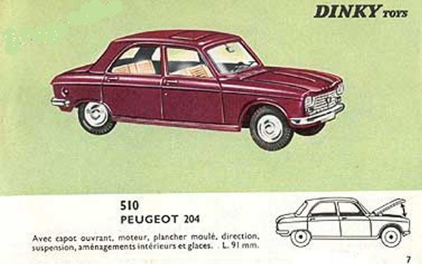 catalogue dinky toys 1966 p07 peugeot 204 dinky