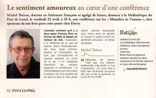 Conférence sur Méandres de l'amour - Avril 2014 - Le Maga