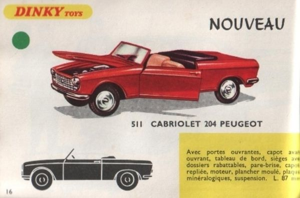 catalogue dinky toys 1968 p016 cabriolet peugeot 204