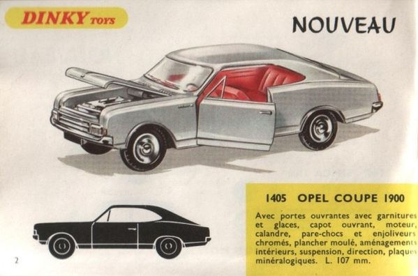 catalogue dinky toys 1968 p002 opel coupe 1900