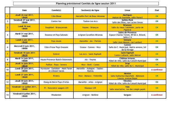 Programmation comités de ligne 1er semestre 2011