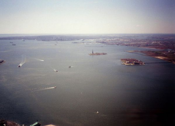 1995 Ellis Island and Statue Liberty wiew from the top WTC