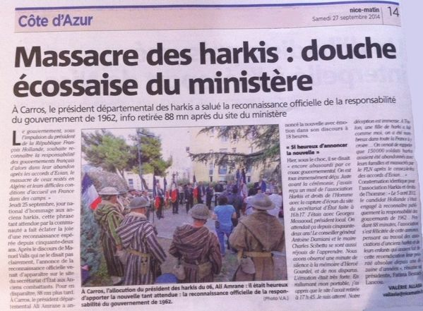 Article nice matin - harkis - 25 septembre 2014