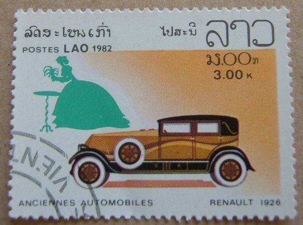 timbre poste renault 1926 postes lao 1982
