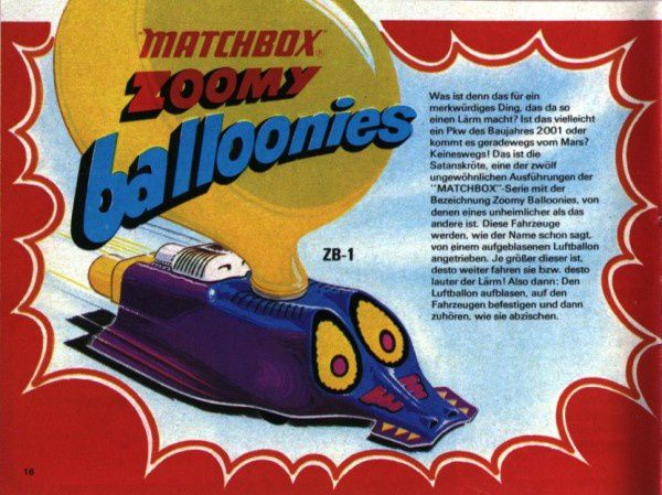 catalogue matchbox 1972-1973 p16 zoomy balloonies