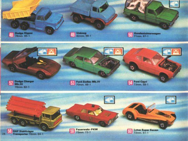 catalogue matchbox 1972-1973 p26 lotus super seven