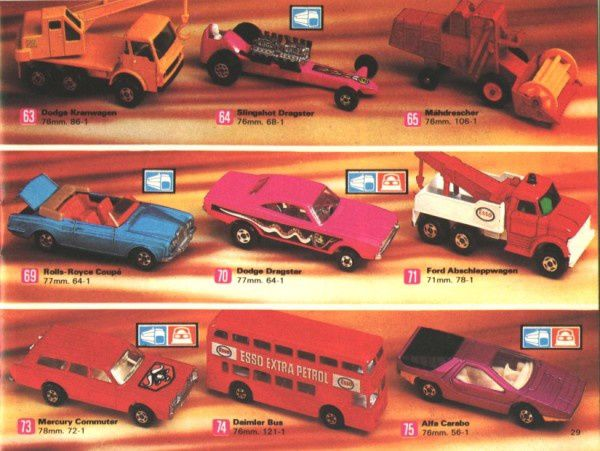 catalogue matchbox 1972-1973 p29 slingshot dragster