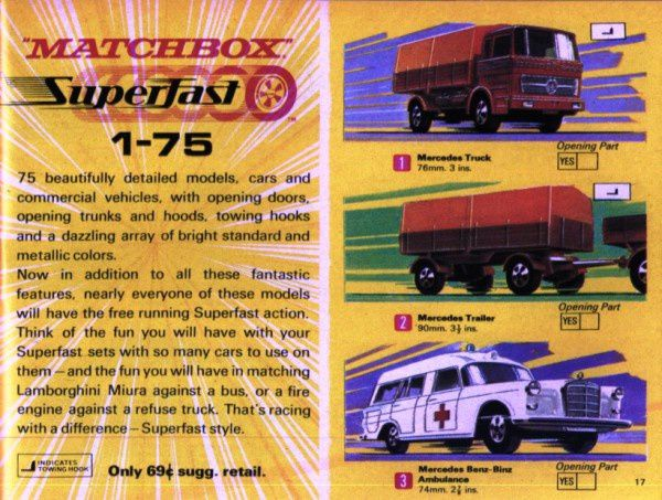 catalogue matchbox 1970 p17 mercedes truck