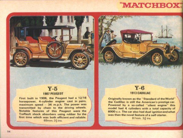 catalogue matchbox 1970 p54 peugeot 1907 cadillac 1913