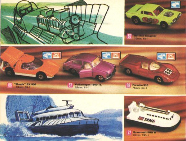 catalogue matchbox 1972-1973 p28 mazda rx500 hovercraft