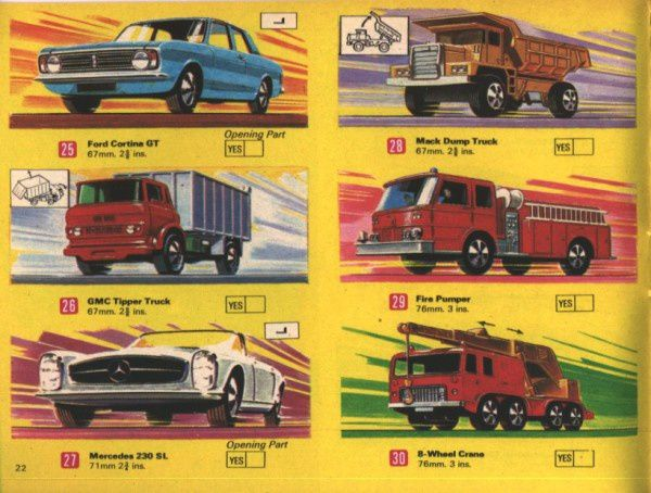 catalogue matchbox 1970 p22 cortina gmc
