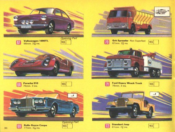 catalogue matchbox 1970 p30 porsche 910 rolls royce coupe