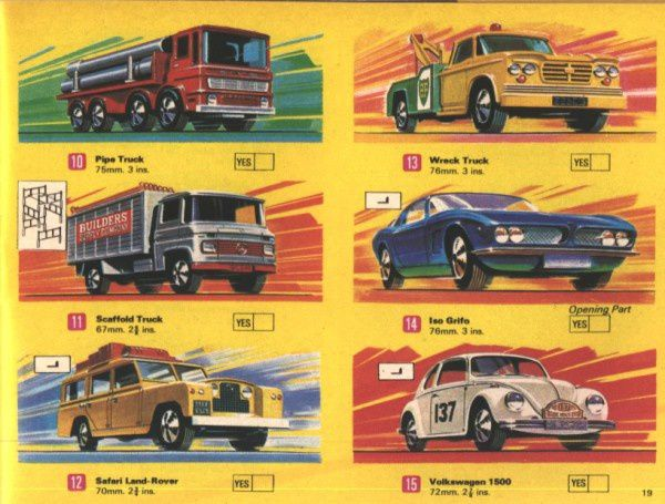 catalogue matchbox 1970 p19 pipe truck scaffold safari vw