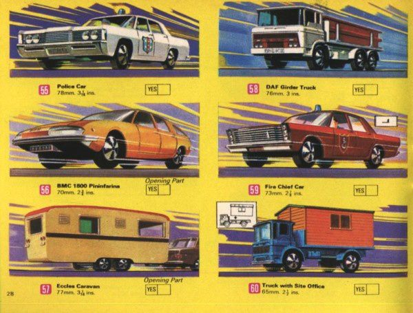 catalogue matchbox 1970 p28 daf truck bmc 1800 pininfarina