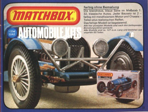 catalogue matchbox 1976 p33 automobile kits