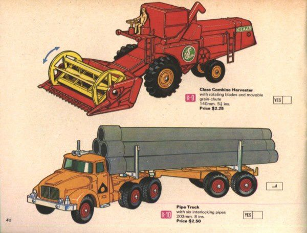 catalogue matchbox 1970 p40 pipe truck moissonneuse batteu