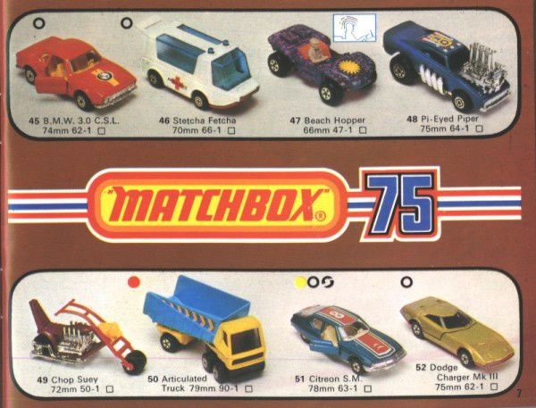 catalogue matchbox 1976 p07 bmw 3.0 csl