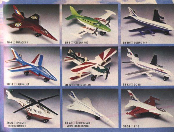 catalogue matchbox 1982-83 p57 pitts special mirage f1 f16