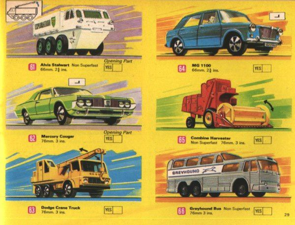 catalogue matchbox 1970 p29 dodge crane truck alvis stalwar