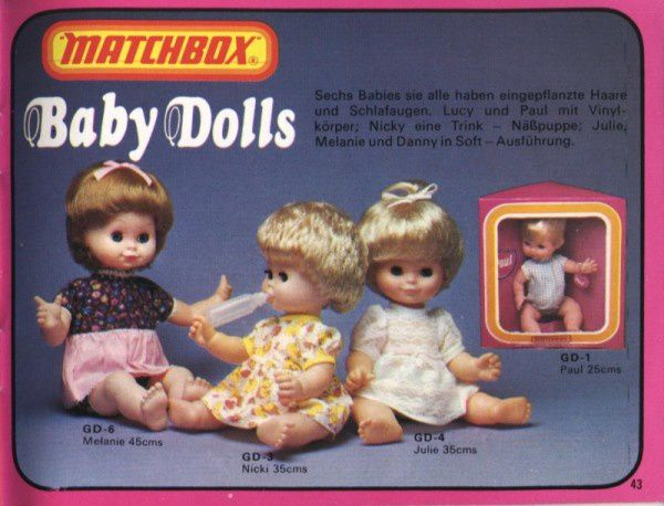 catalogue matchbox 1976 p43 poupees baby dolls melanie juli
