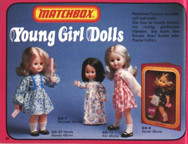 catalogue matchbox 1976 p44 michelle sandy mandy young girl