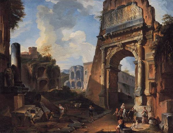 1730 PANNINI- Ideal landscape with the Titus Arch- Private