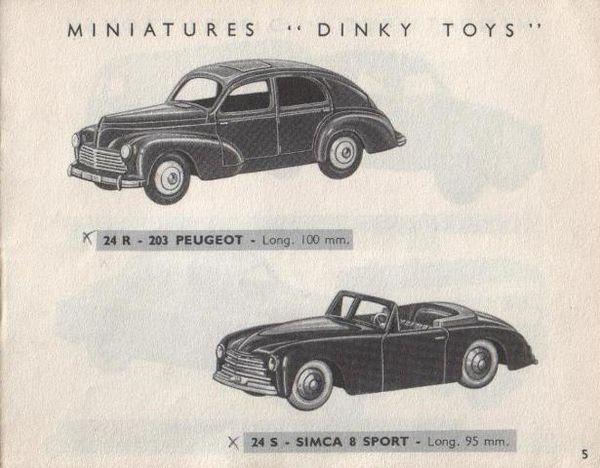 catalogue-dinky-toys-1954-p5-peugeot-203-simca-8-sport