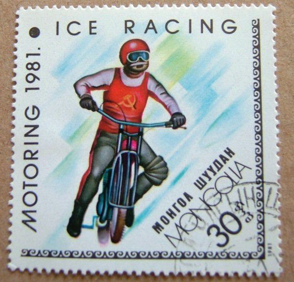 timbre poste ice racing moto sur glace