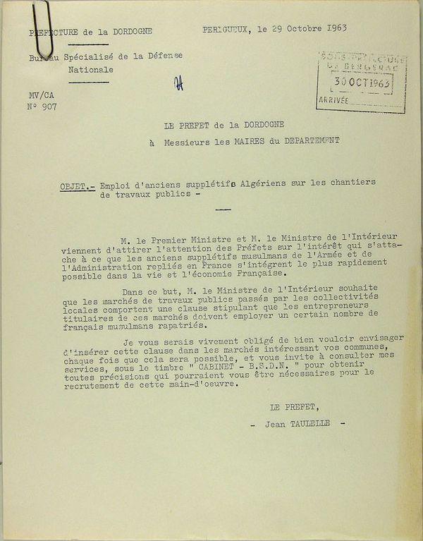 6-Lettre du préfet de la Dordogne ( 29-10-1963) 1