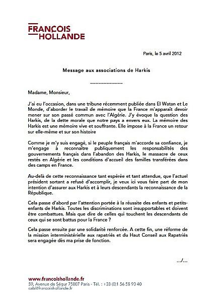 Lettre aux harkis Francois Hollande