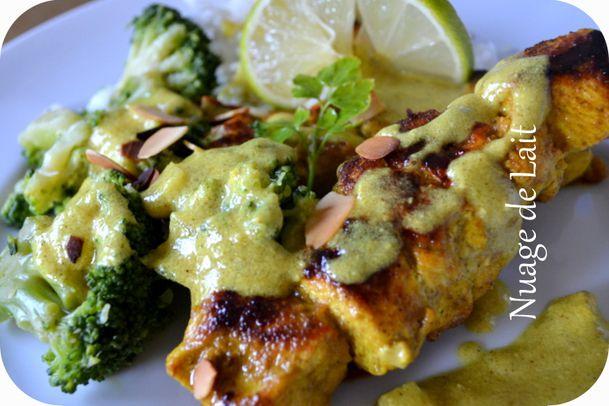 brochettes poulet à l'indienne coco et curry