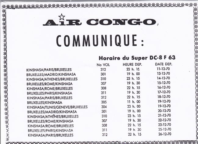 Horaire Air Congo -18.12.1970