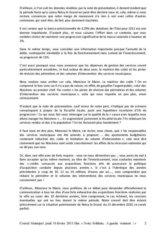 Débat Orientations budgétaires 10-02-11 Page 2